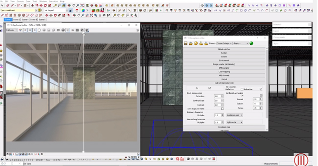 How to apply override material and ambient occlusion in Vray for Sketchup