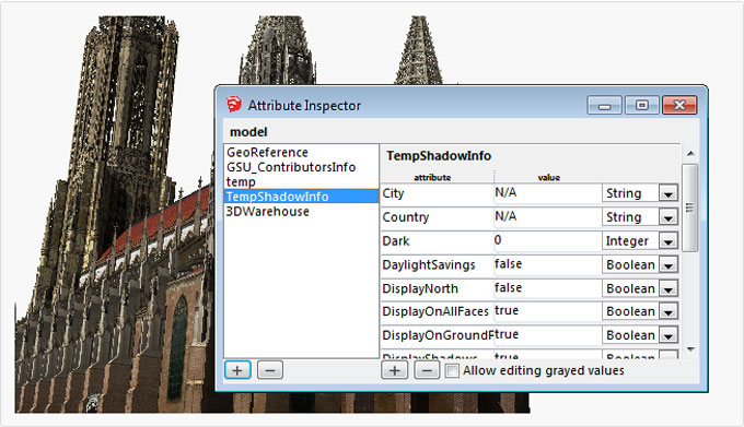 Attribute Inspector 1.1, an exclusive sketchup plugin