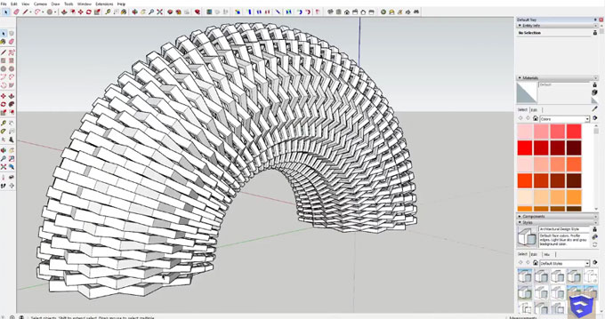 How to apply radial bend tool in fredoScale to create a bent basketweave shape