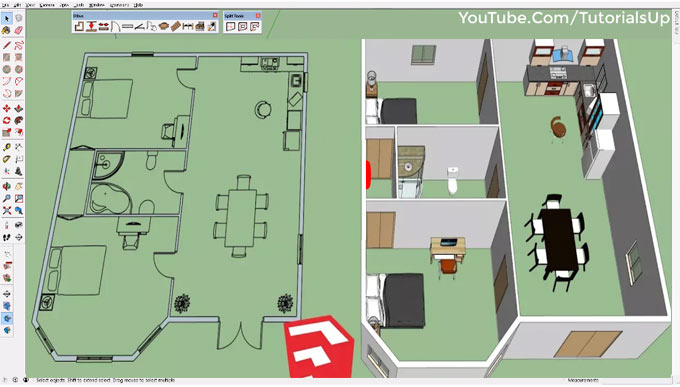 How to convert 2D floor plans to 3D with Dibac 2015 for sketchup