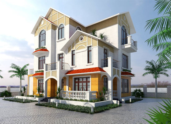 Exterior Rendering Of A Mansion With Sketchup V Ray