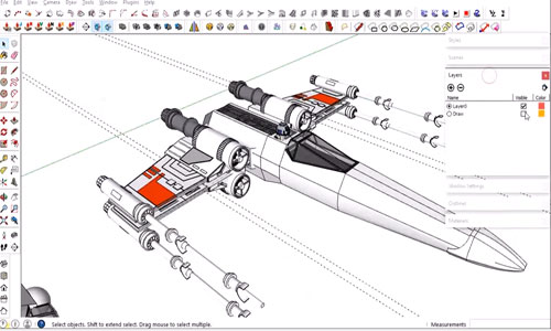 How to develop the model of a X-Wing Fighter Plane with sketchup