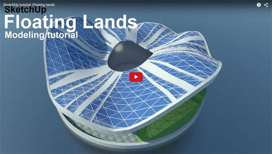How to apply sketchup for modeling a floating land