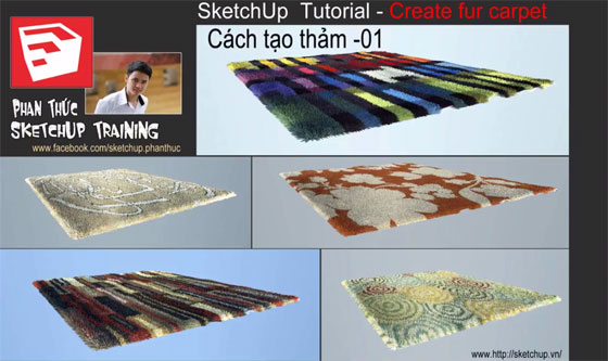 Fur carpet with sketchup and v-ray