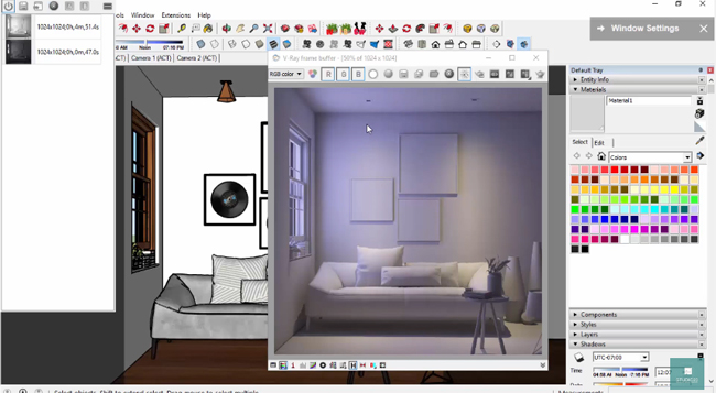 How to set up interior lighting with v-ray for sketchup