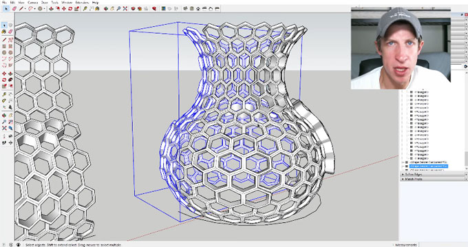 Learn to make Hexagonal Lattice Shapes with sketchup and shape bender