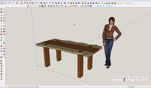 Oak table for the living room by applying sketchup pro