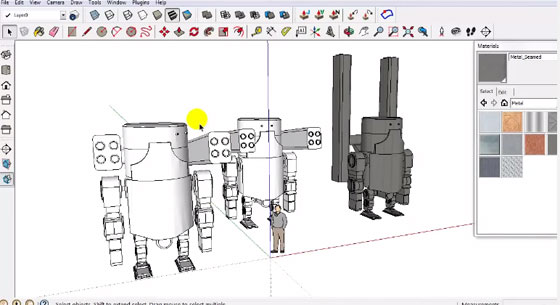 Apply sketchup to create the design of a robot