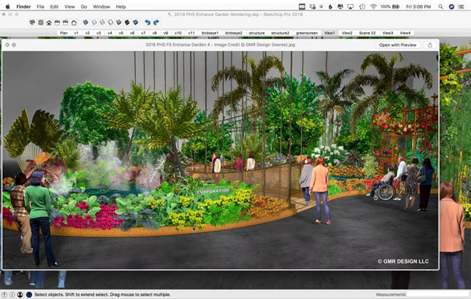 How sketchup was used to complete the Philadelphia Flower Show project