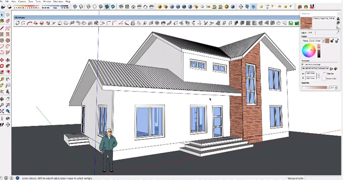 How to create home design plan with size 14m4 x 10m in sketchup