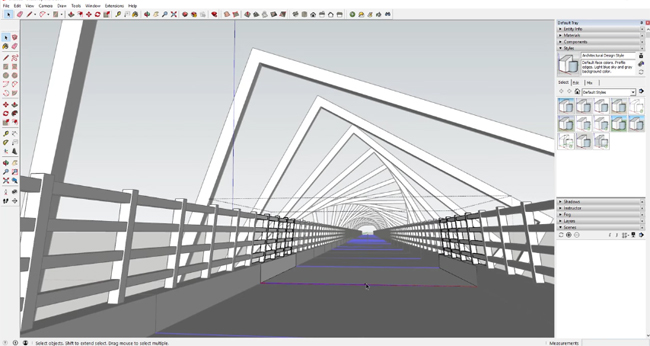 How to model a spiral shaped high trestle bridge with memory copy sketchup extension