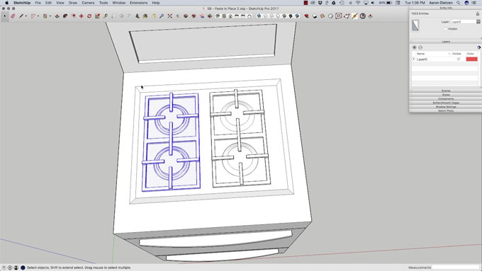 How to use paste in place tool in sketchup