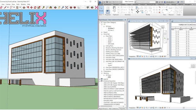 The newest Helix tool can easily transform your sketchup model to Revit