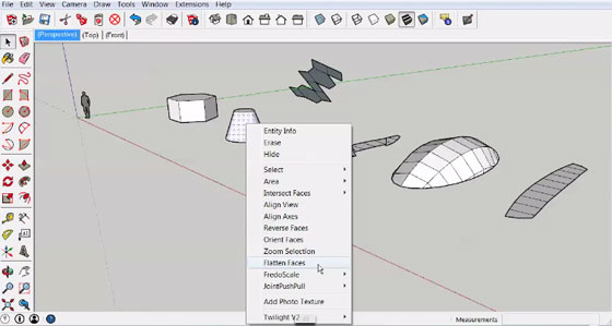 Unwrap and Flatten Faces for sketchup