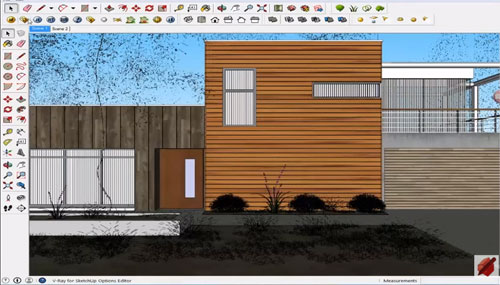 Apply V-ray for sketchup for creating & rendering of an exterior scene