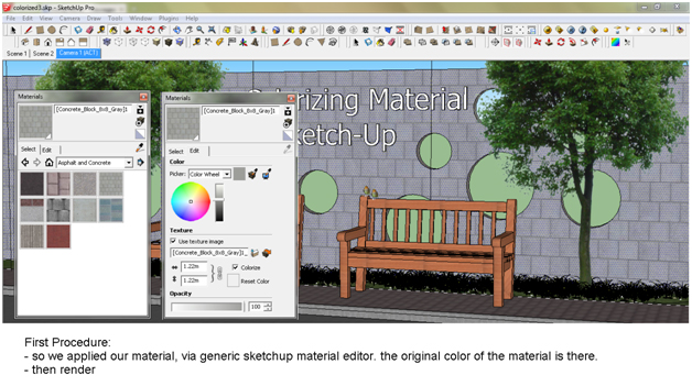 How colourize materials in Sketchup