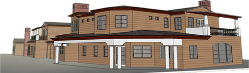 side view of google sketchup model house