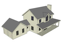3D Colonial two story house