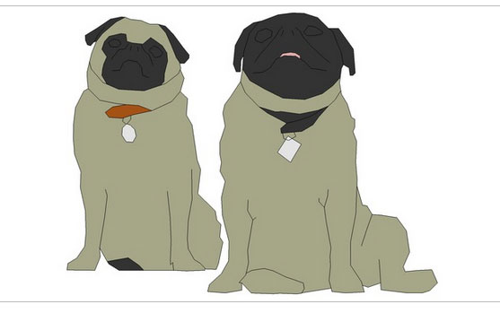 2d animal dog and pugs