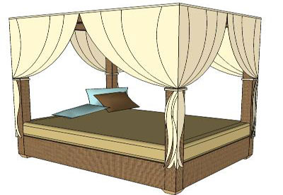 Sketchup components 3d warehouse bed daybed with canopy for Outdoor furniture 3d warehouse