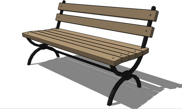 Sketchup components 3d warehouse wood park bench for Outdoor furniture 3d warehouse