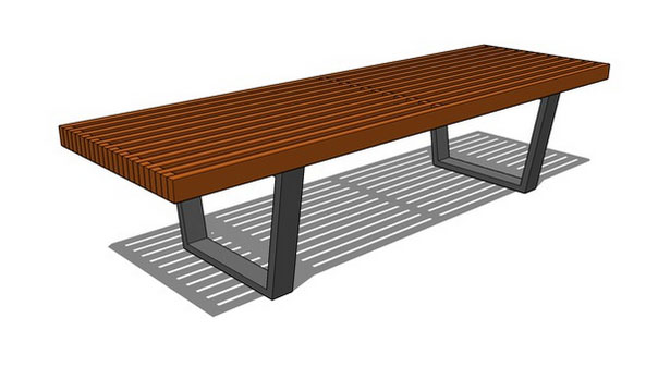 Sketchup components 3d warehouse flat platform wood bench for Outdoor furniture 3d warehouse