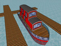 Style House Boat in SketchUp