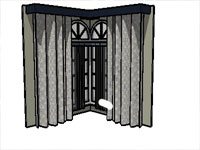 Large Windows with Curtains in Sketchup