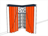 Red Curtain Decordations in Sketchup