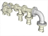 Five Flange Connected Pipe