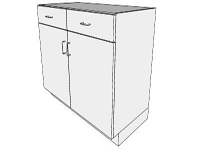 3D Base cabinet 2 doors 2 drawers in sketchup