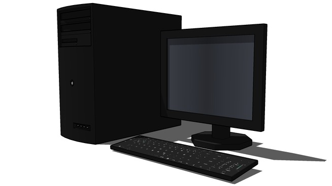 Desktop computer with a flatscreen monitor