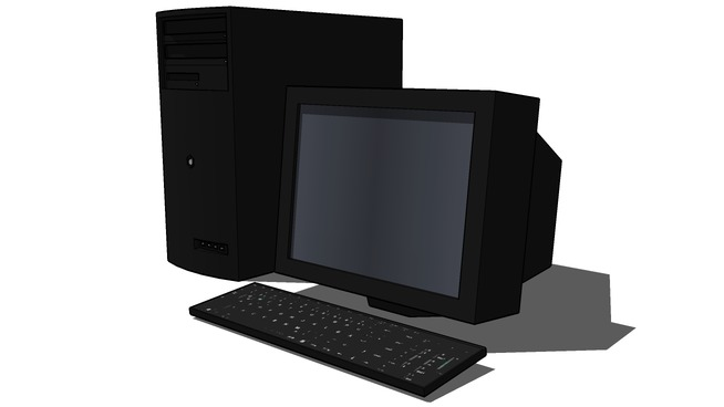Desktop computer with a crt monitor