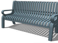 Metal bench with arms