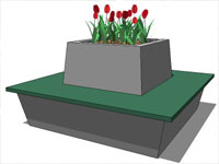 Square Bench Flower in SketchUp