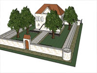 House with Garden in Sketchup