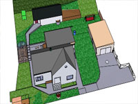 House Yard with Garden in Sketchup