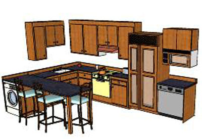 simple kitchen in sketchup - Simple Kitchen Pictures