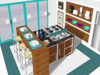 Blue and Purple Kitchen in SketchUp