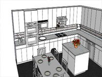 Kitchen with White Cabinet in SketchUp
