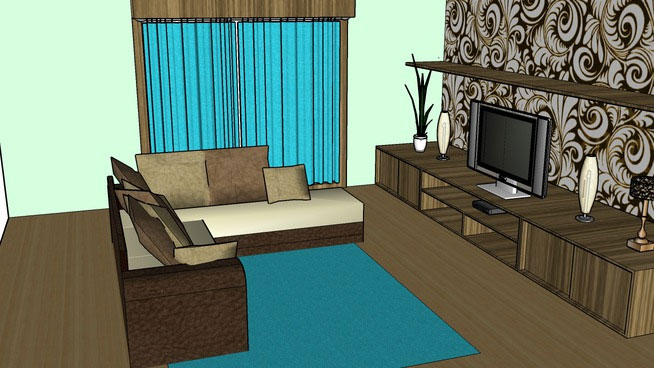 Sketchup components 3d warehouse living room modern for 3d house room design