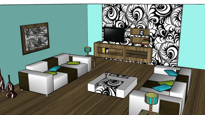 Sketchup components 3d warehouse living room with furniture for Outdoor furniture 3d warehouse