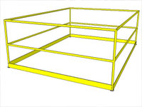 Yellow Metal Handrail in Sketchup