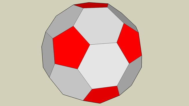 Silver and red soccer ball