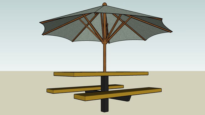 Patio Bench with Umbrella Shading