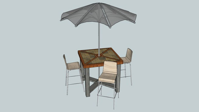 3 Chairs with Umbrella